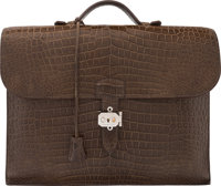 Hermes Matte Gris Elephant Porosus Crocodile Sac a Depeches Double Gusset Briefcase with Palladium Hardware P S