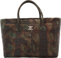 "Luxury Accessories:Bags, Chanel Green & Brown Python Cerf Tote Bag. Condition: 4. 16""Width x 11"" Height x 6"" Depth. ..."
