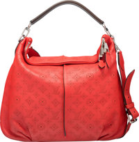 """Louis Vuitton Red Mahina Leather Selene Bag MM Condition: 3 16.5"""" Width x 15"""" Height x 2"""" Depth"""