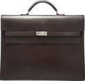 Luxury Accessories:Bags, Hermes 37cm Marron Fonce Calf Box Leather Kelly Depeches BriefcaseBag with Palladium Hardware. J Square, 2006.Condit...