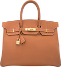 Luxury Accessories:Bags, Hermes 35cm Gold Courchevel Leather Birkin Bag with Gold H...