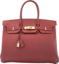 "Luxury Accessories:Bags, Hermes 35cm Rouge H Courchevel Leather Birkin Bag with Gold Hardware. B Square, 1998. Condition: 3. 14"" Width x 10..."