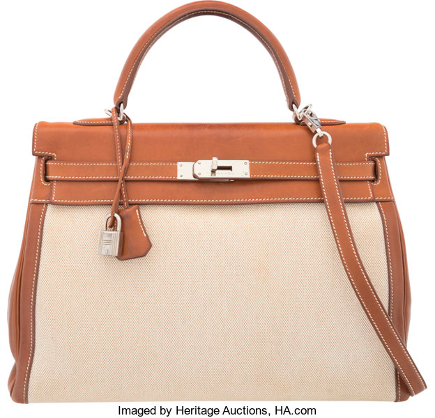 Hermes 35cm Fauve Barenia Leather   Toile Retourne Kelly  a462894a15567