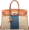 Luxury Accessories:Bags, Hermes Limited Edition 35cm Fauve Barenia Leather, Ficelle...