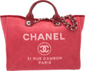 "Luxury Accessories:Bags, Chanel Red Canvas Large Deauville Tote Bag. Condition: 1. 15""Width x 13"" Height x 7"" Depth. ..."