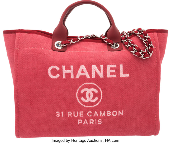 9316468e6 Condition: 1; Luxury Accessories:Bags, Chanel Red Canvas Large Deauville  Tote Bag.