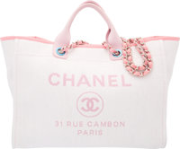 """Chanel Pink Woven Straw Large Deauville Tote Bag Condition: 2 15"""" Width x 12"""" Height x 7"""" Depth</..."""