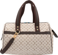 "Louis Vuitton Brown Mini Lin Canvas Josephine GM Bag Condition: 1 13.5"" Width x 9"" Height x 7"" De"