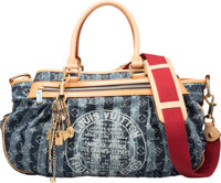 """Louis Vuitton Limited Edition Denim Cruise Cabas Raye GM Bag with Charm Condition: 1 17"""" Width x 11"""" Height..."""