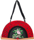 """Luxury Accessories:Bags, Moschino Red & Black Polka Dot Pleated Fan Bag. Condition:3. 13.5"""" Width x 8"""" Height x 1"""" Depth. ..."""