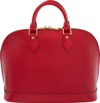"""Louis Vuitton Red Epi Leather Alma PM Bag Condition: 3 12.5"""" Width x 9.5"""" Height x 6"""" Depth"""