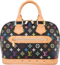 "Luxury Accessories:Bags, Louis Vuitton Black Monogram Multicolor Coated Canvas Alma PM Bag .Condition: 3. 12"" Width x 9"" Height x 4"" D..."