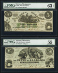 Obsoletes By State:Alabama, Montgomery, AL- State of Alabama $5; $100 Jan. 1, 1864 Cr. 15; 12. ... (Total: 2 notes)