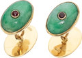 Estate Jewelry:Cufflinks, Ruby, Jade, Gold Cuff Links. ...