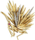 Estate Jewelry:Brooches - Pins, Diamond, Ruby, Gold Brooch, St. Geo. ...
