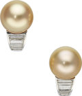Estate Jewelry:Earrings, South Sea Cultured Pearl, Diamond, Platinum Earrings, Carvin French. ...