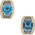 Estate Jewelry:Earrings, Blue Topaz, Diamond, Gold Earrings. ...