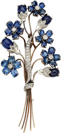 Estate Jewelry:Brooches - Pins, Retro Sapphire, Diamond, Platinum, Gold Brooch. ...