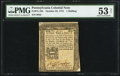 Colonial Notes:Pennsylvania, Pennsylvania October 25, 1775 1s PMG About Uncirculated 53 Net.. ...