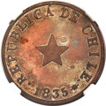 "Chile, Chile: Republic copper ""Thick Flan"" Proof 1835 1/2 Centavo PR64Brown NGC,..."