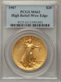 High Relief Double Eagles: , 1907 $20 High Relief, Wire Rim MS63 PCGS. Pop (976/1463), CDNCollector Price ($24200.00), CCDN Price ($19000.00), Trends($2750...