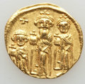 Ancients:Byzantine, Ancients: Heraclius (AD 610-641), with Heraclius Constantine andHeraclonas as Caesar. AV solidus (4.37 gm). Choice VF....