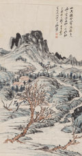 Asian, A Chinese Watercolor Landscape Scroll Attributed to ZhangDaqian (1899-1983). Marks: (two artist's seals). 40 in...