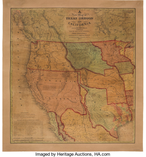 S Amuel Augustus Mitchell A New Map Of Texas Oregon Lot 51113