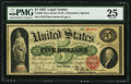 Large Size:Legal Tender Notes, Fr. 63b $5 1863 Legal Tender PMG Very Fine 25....