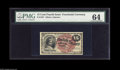Fr. 1267 15¢ Fourth Issue PMG Choice Uncirculated 64. An apparently extremely nice example
