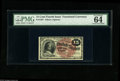 Fr. 1267 15¢ Fourth Issue PMG Choice Uncirculated 64. A bit tight across the top, but an otherwise beautiful exampl...