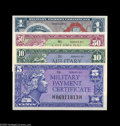 Military Payment Certificates:Series 611, Series 611 5¢, 10¢, 25¢, 50, $1 Choice New or Better. The 25¢ and 50¢ certificates are tougher items in the loftier grades. ... (5 notes)