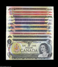 Canadian Currency: , Canadian Gem Crisp Uncirculated Collection with Many Matching LowSerial Numbers. BC-46a $ 1 1973 AA0000740 BC-46a-i $1 19... (11notes)