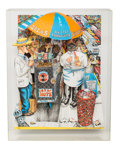 Fine Art - Sculpture, American, Red Grooms (b. 1937). Hot Dog Vendor, 1994.Three-dimensional color lithograph and linoleum cut on BFK Rives.33-3/8 x 2...