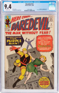 Silver Age (1956-1969):Superhero, Daredevil #4 (Marvel, 1964) CGC NM 9.4 Off-white pages....