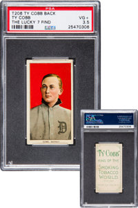 1909-11 T206 Ty Cobb Portrait Red Background with Ty Cobb Back (Lucky 7 Find) PSA VG+ 3.5