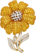 Estate Jewelry:Brooches - Pins, Diamond, Yellow Sapphire, Gold Brooch. ...
