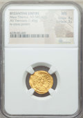 Ancients:Byzantine, Ancients: Maurice Tiberius (AD 582-602). AV tremissis (1.45 gm).NGC MS 4/5 - 3/5....