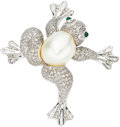 Estate Jewelry:Brooches - Pins, Diamond, South Sea Cultured Pearl, Emerald, White Gold Brooch. ...
