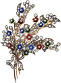 Estate Jewelry:Brooches - Pins, Diamond, Enamel, Silver-Topped Gold Brooch. ...
