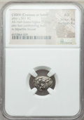 Ancients:Greek, Ancients: LYDIA. Age of Croesus (ca. 555-541 BC). AR half stater orsiglos (5.33 gm). NGC AU 4/5 - 4/5....