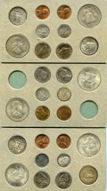 Lincoln Cents, 1949 Mint Set, Uncertified. Includes 28 coins, comprised of three consecutively 10-piece mint sets from 1948. One set is mis... (Total: 28 coins)