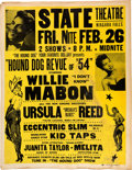 Music Memorabilia:Posters, Willie Mabon State Theatre Concert Poster (1954). ExtremelyRare....