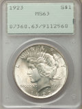 Peace Dollars: , 1923 $1 MS63 PCGS. PCGS Population: (87018/106241). NGC Census: (106334/189071). MS63. Mintage 30,800,000. ...