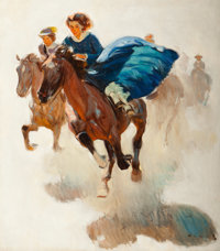 Harold von Schmidt (American, 1893-1982) The Race Oil on canvas 30 x 26 in. Signed lower right
