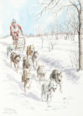 Mainstream Illustration, Ben Babelowsky (Canadian, 20th Century). Sled Dog RaceNepean, 1976. Watercolor and ink on paper. 17.75 x 12.75 in.(sig...