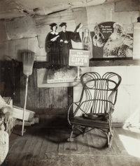 Walker Evans (American, 1903-1975) Interior of Coal Miner's Home with Rocking Chair and Advertisements on Wall