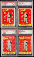 Baseball Cards:Lots, 1958 Topps Mickey Mantle All Star #487 PSA Graded Quartet (4). . ...