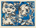 Prints & Multiples, Herbert Gentry (1919-2003). Tea for Three, 1991. Aquatint in colors on Arches paper. 22 x 29-5/8 inches (55.9 x 75.2 cm)...