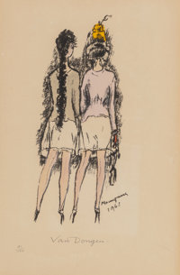 Kees van Dongen (1877-1968) Mannequins, 1963 Lithograph in colors on Rives BFK paper 19-7/8 x 12-